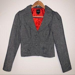 XOXO Gray Metallic Tweed Blazer